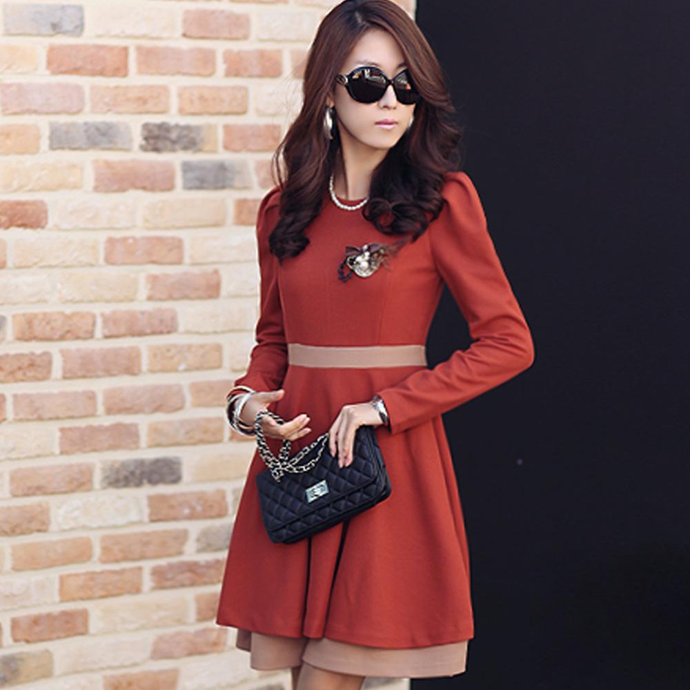 【N.C21】雙層裙擺配色腰帶洋裝 (共二色)