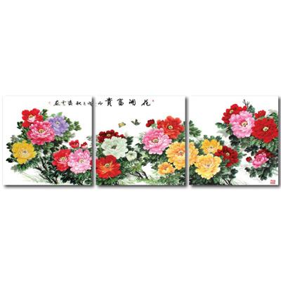 24mama掛畫- 三聯無框圖畫藝術家飾品 - 花開富貴40*40cm