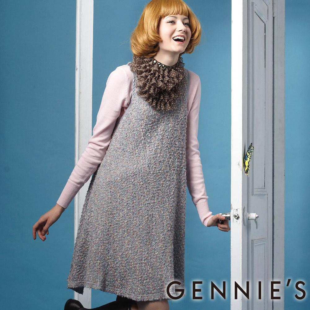Gennies奇妮-漾彩雙層次勾針秋冬背心洋裝 (G2218)