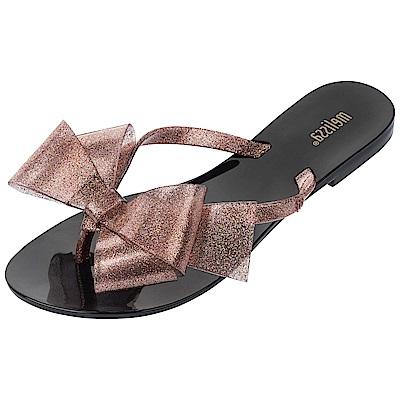 Melissa 浪漫大蝴蝶結夾腳鞋-黑/燦粉