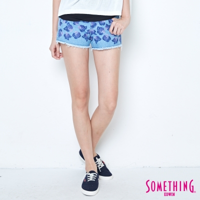 SOMETHING 玫瑰繡花牛仔短褲-女-重漂藍