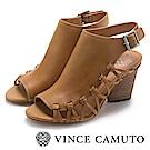 Vince Camuto 側邊編織魚口粗高跟涼鞋-棕色