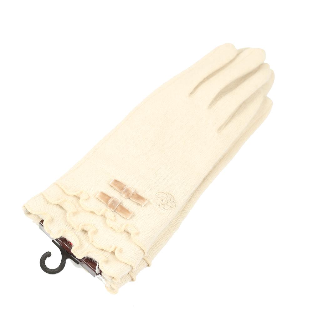 CLATHAS 安哥拉混羊毛絲絨蝴蝶結觸控手套(米色) @ Y!購物