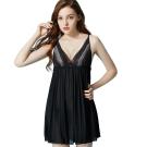 思薇爾 海洋派對系列蕾絲性感連身小夜衣(黑色)