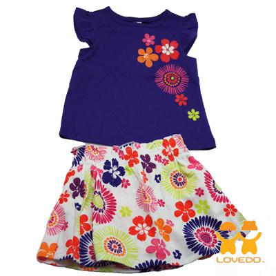 【LOVEDO-艾唯多童裝】彩漾花朵 兩件組套裝(藍紫)