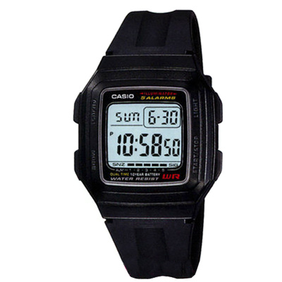CASIO 超強進化10年電力數位方塊錶(F-201WA-1A)-黑x白框/34mm