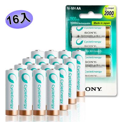 SONY CycleEnergy 新型 2000mAh 低自放3號充電電池(16顆入)