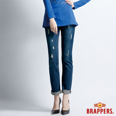 BRAPPERS 女款 Boy Friend Jeans系列-3D直筒褲-藍