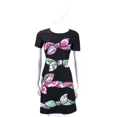 BOUTIQUE MOSCHINO 黑色蝴蝶結珠鍊印花短袖洋裝