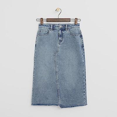 Hang-Ten-女裝-後開岔牛仔中長裙-淡藍色