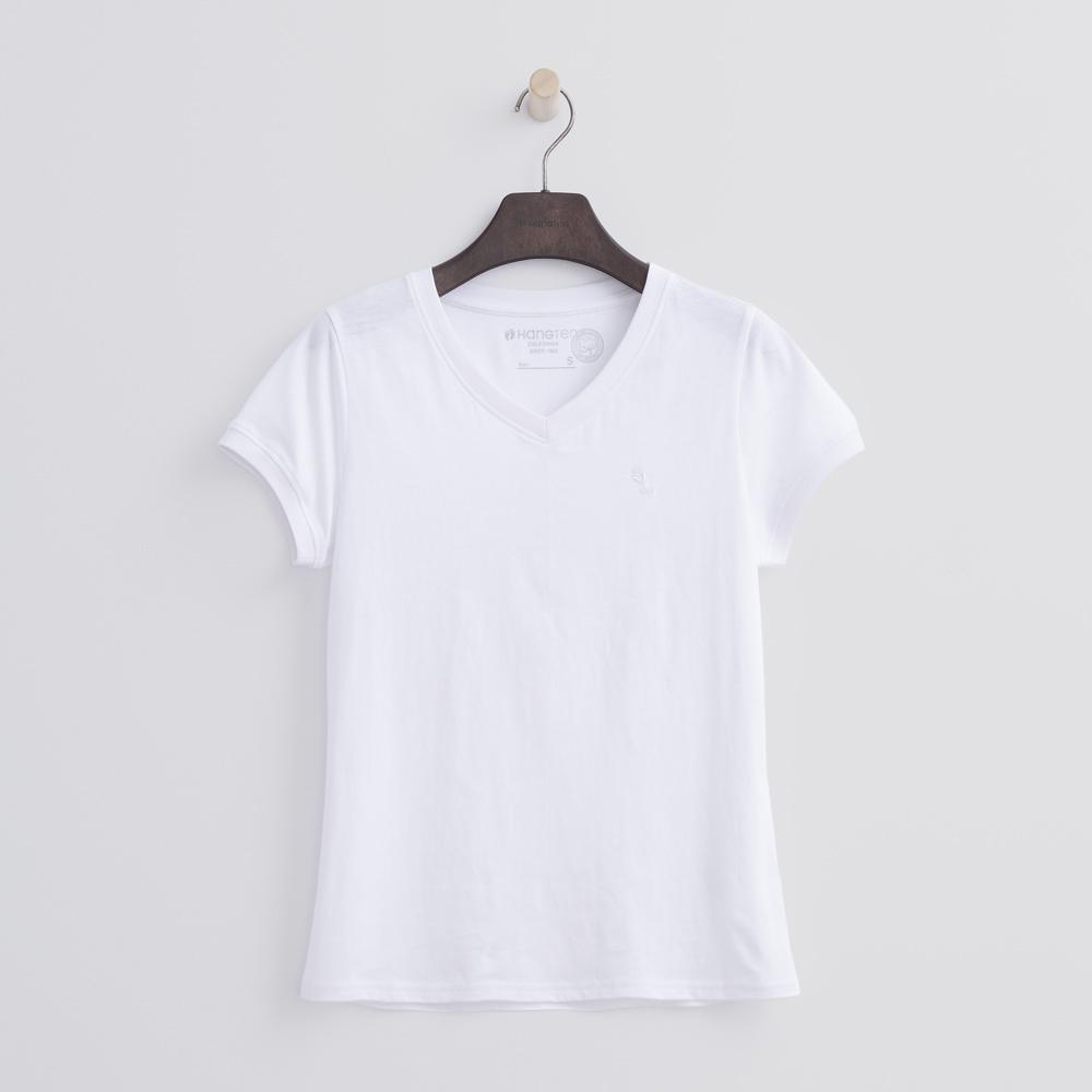 Hang Ten - 女裝 - 有機棉 V領多彩T恤-白色