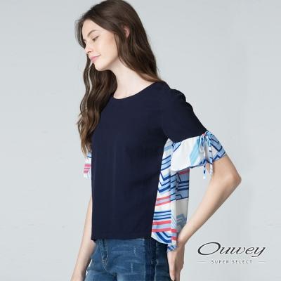 OUWEY歐薇 不規則撞色印條上衣(藍)