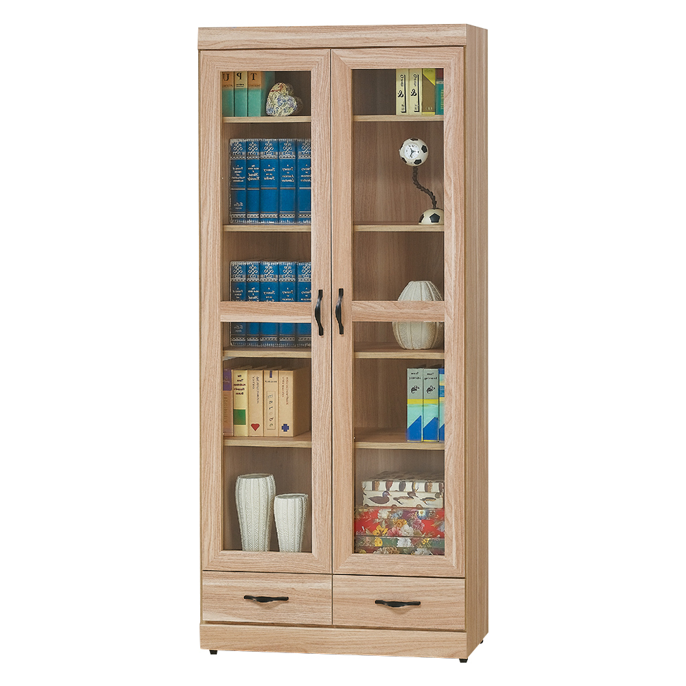 Boden-彼得2.6尺二門二抽書櫃-80x33x180cm