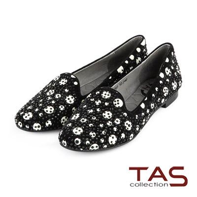 TAS-波卡圓點水鑽麂皮樂福鞋-率性黑