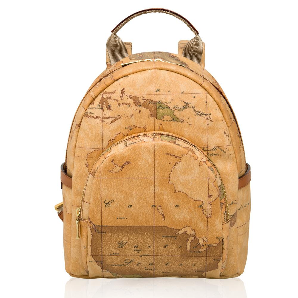 Alviero Martini 義大利地圖包 雙層子母後背包(大)-地圖黃