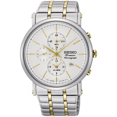 SEIKO 精工Premier 完美特務三眼計時腕錶(SNAF80P1)-銀x金/41mm