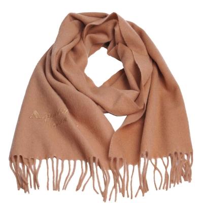 Aquascutum 義大利製100%喀什米爾經典品牌LOGO刺繡圍巾(駝)