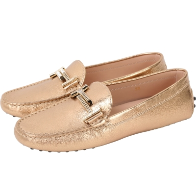 TOD'S Double T 施華洛世奇水鑽飾豆豆休閒鞋(女鞋/金色)