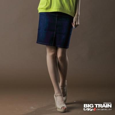 BIG TRAIN-女款 伸縮低腰開叉及膝裙-深藍