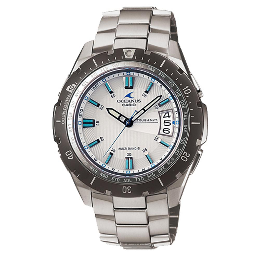 OCEANUS 優雅簡約紳士風格指針電波錶(OCW-P100TD-7A)-白/46mm