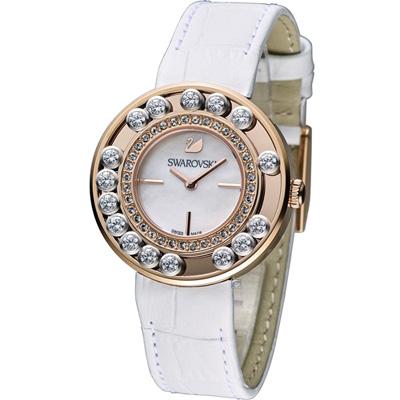 SWAROVSKI Lovely Crystals 奢華飄鑽魅力腕錶-白x玫瑰金/35mm