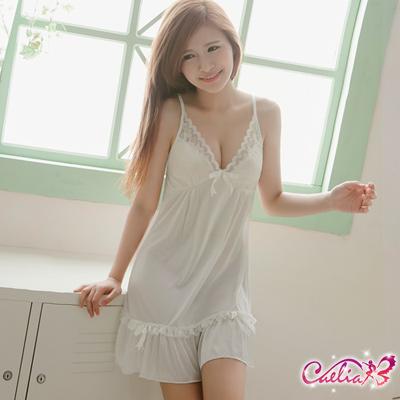 Caelia 甜美日系白色柔緞睡衣