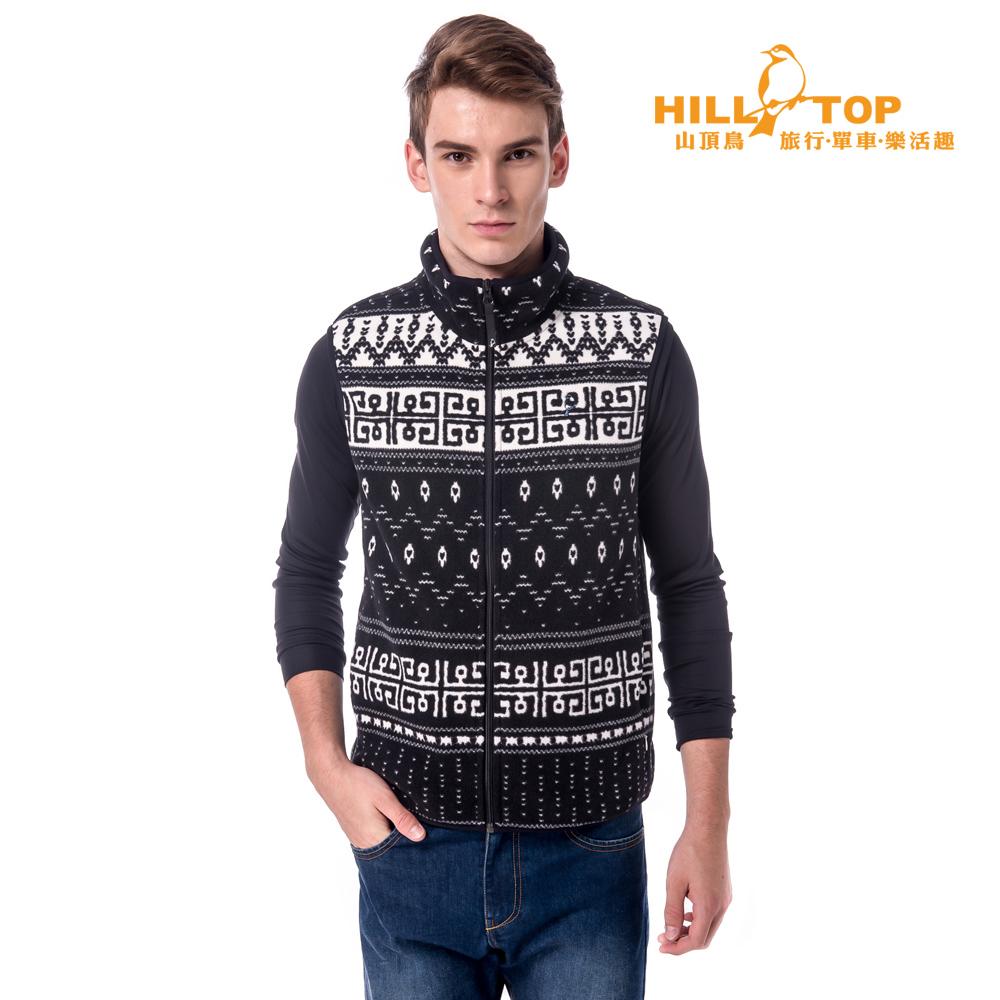 【hilltop山頂鳥】男款吸濕保暖刷毛背心H25M93奶白底/黑印花