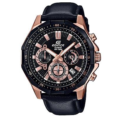 EDIFICE俐落帥氣科技感立體多角切割框賽車皮帶錶(EFR-554BGL-1)47