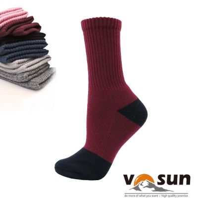 【台灣 VOSUN】 MIT 頂級控溫保暖中筒美麗諾羊毛襪_酒紅