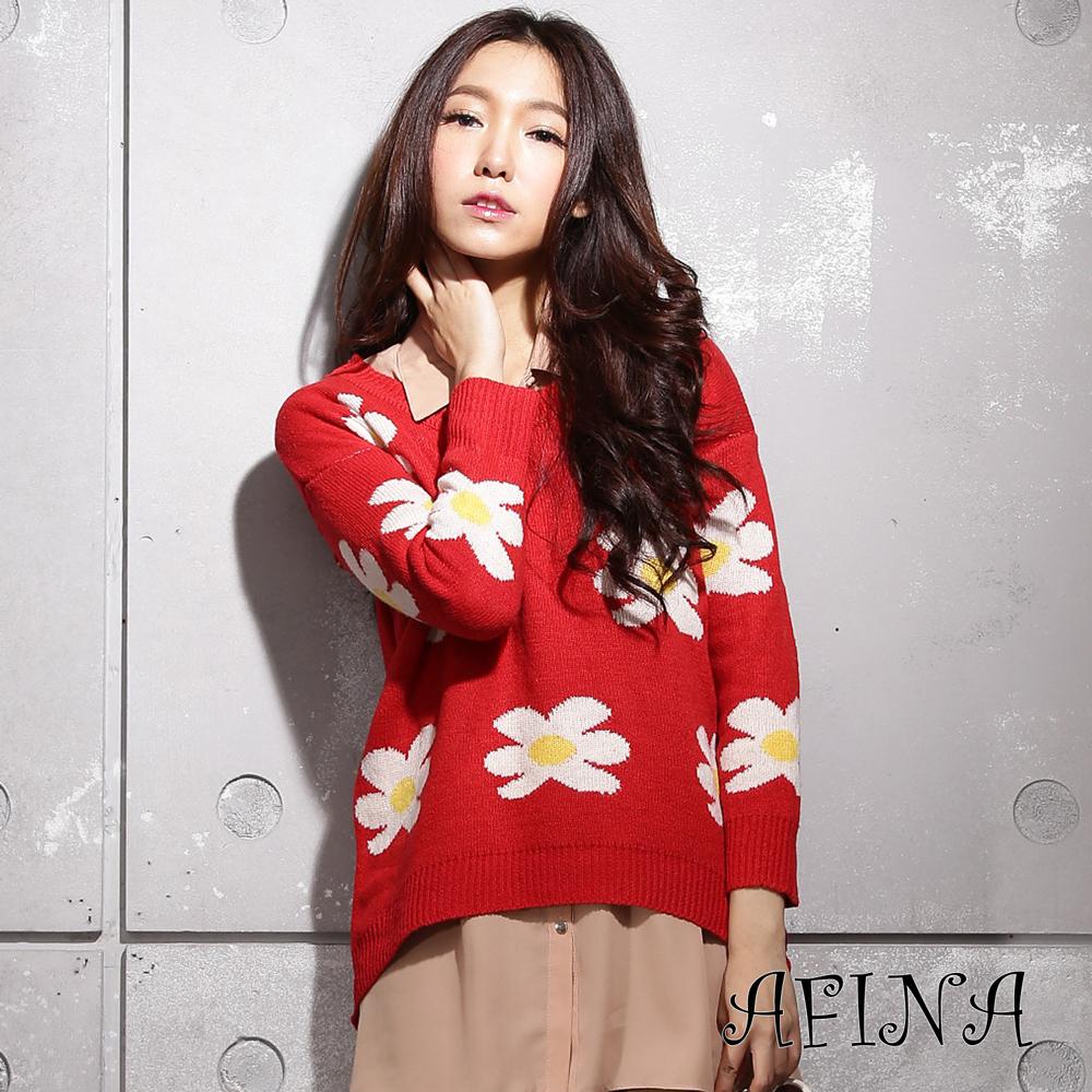 【AFINA】俏麗小花造型針織衫-紅