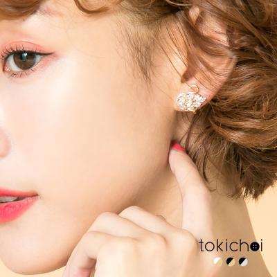 東京著衣 多色鑲鑽典雅天鵝夾式耳環(共三色)