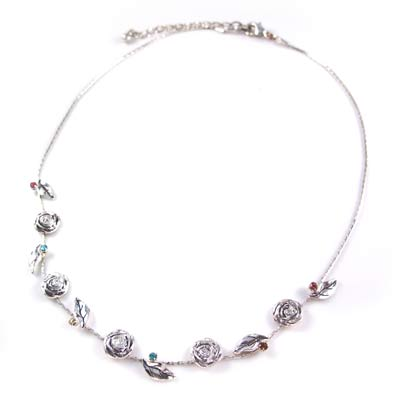 KOURIN花園系列-銀色彩鑽玫瑰花園頸鍊(銀鍊15吋)