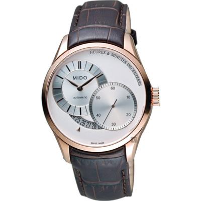 MIDO Belluna II Gent 時分偏心機械腕錶-銀x玫塊金框x咖啡/39mm M0244443603100