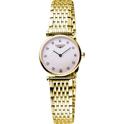 LONGINES 嘉嵐超薄珍珠貝真鑽腕錶-白彩貝x金/24mm