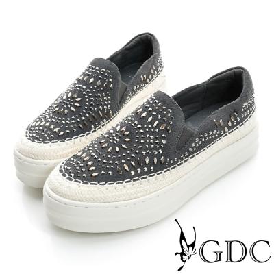 GDC舒適-民族風水鑽圖騰厚底真皮懶人休閒鞋-槍灰色