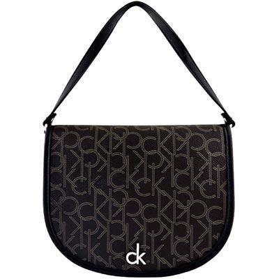 Calvin Klein 巧克力色LOGO PVC手提包