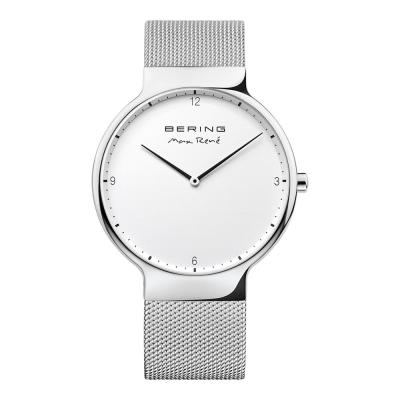 BERING-MAX RENE設計師聯名款 白錶盤x銀 米蘭錶帶40mm
