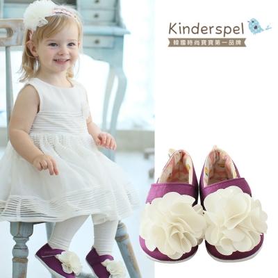 Kinderspel 輕柔細緻‧棉花糖休閒學步鞋(紫紅蛋苞花-花朵)