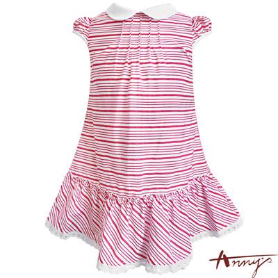 Annys活潑紅條紋可愛翻領蕾絲襬洋裝*7153紅