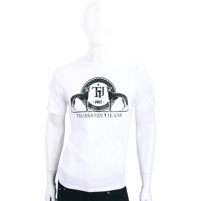 TRUSSARDI-JEANS 白色圖印LOGO棉質短袖T恤