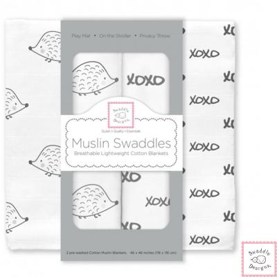 Swaddle Designs 多用途嬰兒包巾2入彌月禮盒組-刺蝟XO
