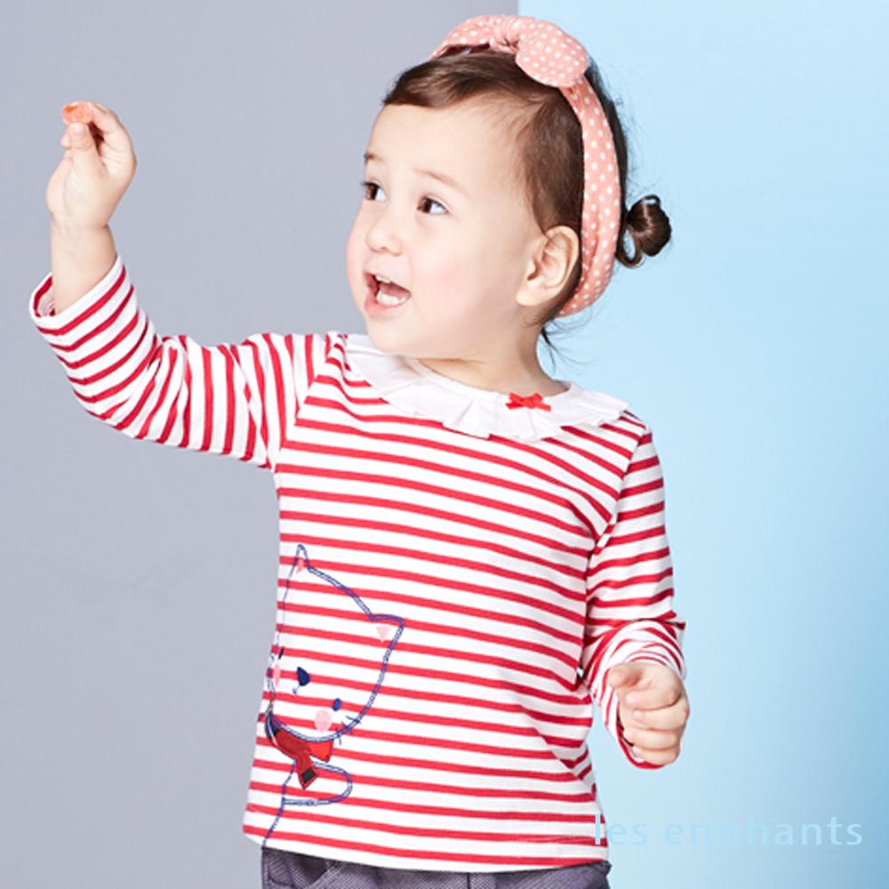 les enphants baby哈囉貓咪荷葉領條紋上衣 紅色