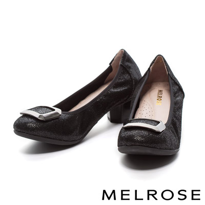 MELROSE-金屬方型飾釦布紋牛皮粗跟鞋-黑