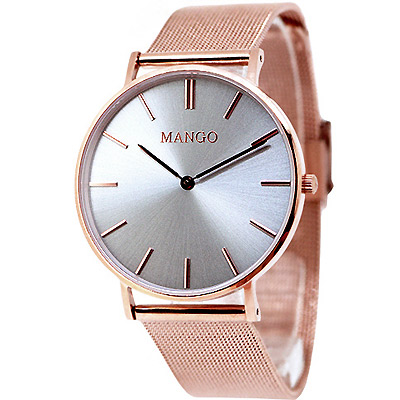 MANGO 簡約米蘭時尚手錶-灰X玫瑰金/36mm