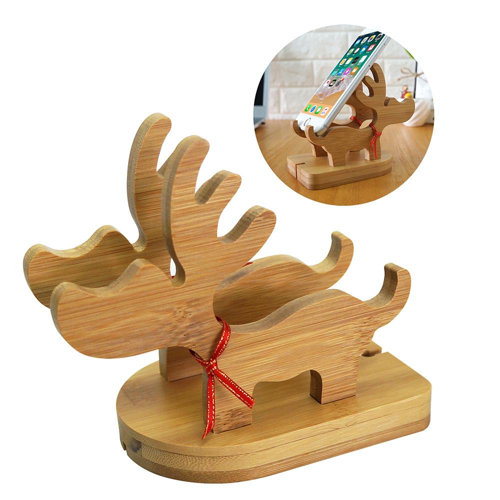 麋鹿二合一手機座竹木小鹿桌面手機支架聖誕禮品