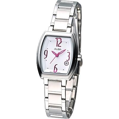 ALBA 經典酒桶造型系列女腕錶(AH7665X1)-白色x桃紅刻/26mm