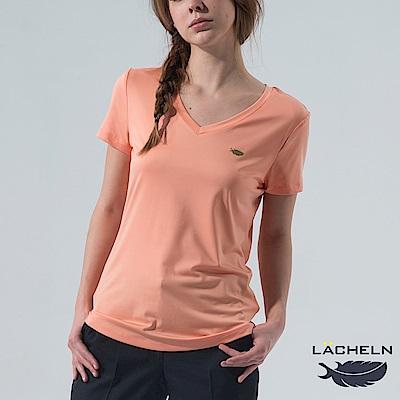 【LACHELN】Coolmax彈性V領衫-淺橘(L62WK02)