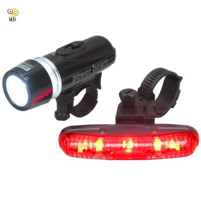 月陽MB自行車超亮5LED貓眼前燈頭燈防水3段長尾燈組-FY201