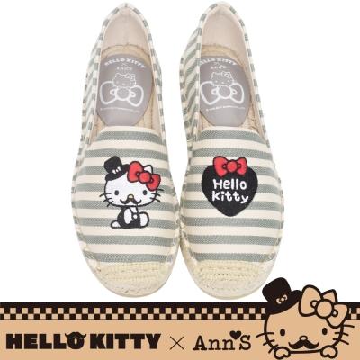 HELLO KITTY X Ann'S小幸運達利不對稱刺繡平底草編鞋-灰