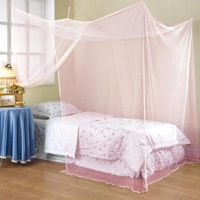 棉花田【極簡風】細網雙人四方蚊帳-粉紅色(150x180cm)